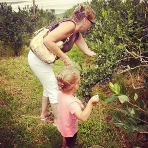 Kayla and her Nannie, picking blueberries!